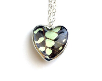 Real Butterfly Wing Necklace Graphium antheus Heart Glass Jewel