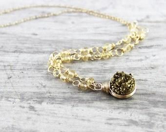 Gold Druzy Necklace, Druzy Gemstone Necklace, Wire Wrap Necklace, Yellow Citrine Necklace, Gold Filled Necklace, Druzy Quartz Necklace