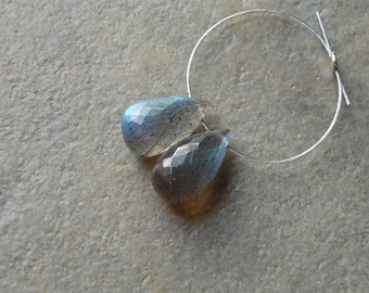AAA Labradorite Faceted  Briolette Drop - 5.5x10mm - Matched Pair