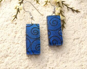 Navy Blue Earrings, Dichroic Glass Earrings, Dangle Drop Earrings Dichroic Jewelry, Sterling Silver Earrings, Deep Blue Earrings, 091116e100