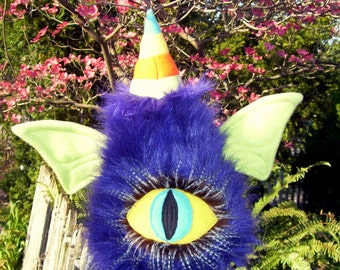 One Eye One Horn Flying Purple People Eater Art Doll Plushie w/ Wings OOAK Stuffed Creature Monster Plush Animal Cyclops Horned Eyed