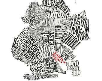 "Customizable - Brooklyn Neighborhood Map 11 x 14"" Print"