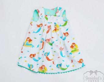 Mermaid Dress Girl - Reversible Mermaid Dress - Aqua Coral Beach Dress - Baby Mermaid Dress - Size 6/12 to Girl's 6 - Starfish Toddler Dress