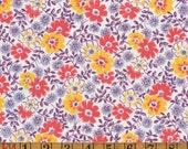 Vintage Feedsack Fabric - Orange, Yellow & Purple Floral - Flour Sack Quilting Cotton 1930s 1940s