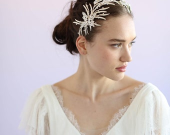 Bridal headpiece - Dramatic leafy oversized headpiece - Style 609 - Ready to Ship