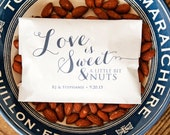 Love is Sweet and a Little Nuts! - Wedding or Shower Favor Bags  - 25 White Wax Lined Bags
