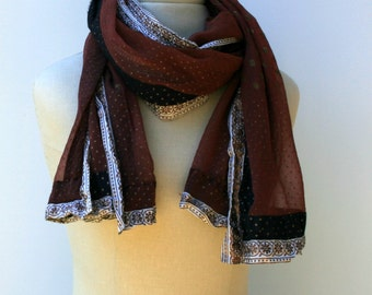Woman summer scarf, brown Ethnic Vintage Scarf  small dupatta scarf, Indian print with trim, block print scarf, Bohemian scarf, Hippie scarf