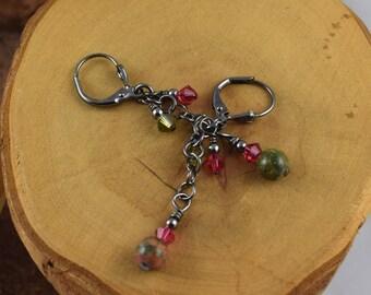 UNAKITE Dainty Dangles gemstone and Swarovski crystal 2 inch long gunmetal chain leverback earrings