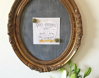 Ornate Vintage Oval Frame turned Magnetic Chalkboard Memo Board