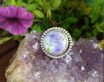 HUGE SALE!  Now HALF Price! Swirled Lilac Roses & Sterling Glass Ring