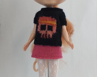 Blythe doll Skully Sweater knitting PATTERN - cute pullover style skull sweater - instant download - permission to sell finished items