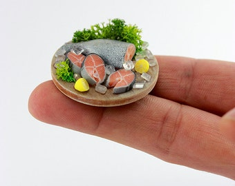 Salmon with Lemon and Dill - 1:12 Scale Miniature Dollhouse Preparation Board