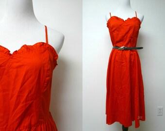 "Haberdasher . 70s 80s red spaghetti strap / full skirt dress . size 13 / 14 . bust 34"""