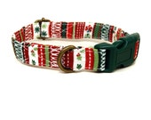 Ribbon Candy - Red Green Candy Stripe Christmas Xmas Organic Cotton CAT Collar Breakaway Safety - All Antique Brass Hardware