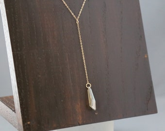 Long Swarovski Crystal  Pendant on Long Gold Chain Y-Neck style necklace