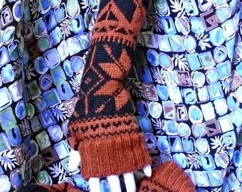 alpine winter wool blend fingerless gloves arm warmers boho chic texting gloves boho gloves handmade upcycled mori girl mittens boho chic