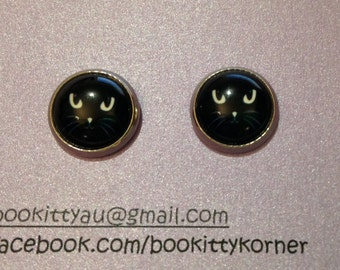 Lucky Friday 13th - Black Kitty  12mm Stainless Steel Stud Earrings
