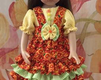 Effner Little Darling Dress With A Blouse It's A Sunburst Found In The Storm With Headband  By TnTCreations