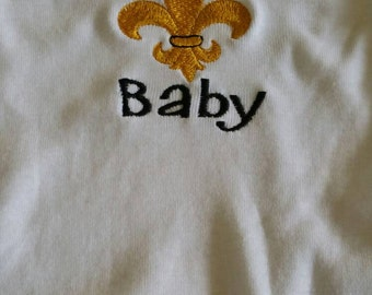 Who Dat Baby Onesie Bib Burp Clothe gown New Orlean Saints  Black and Gold