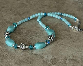 Aqua Blue Gemstone Crystal Necklace, Amazonite, Teal Swarovski Crystals, Turkish Sterling Silver, Beaded Necklace, Dressy Elegant NHAI