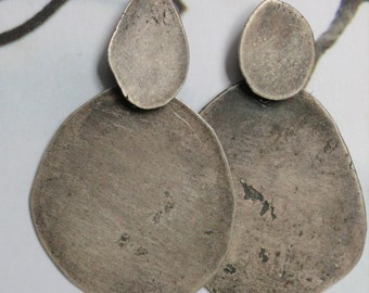 Recycled Sterling Silver Organic Shape Asymmetrical Earrings II