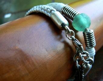 Powa Yuki Leather Bracelets | Men's Women's Leather Bracelet Set | Braided Leather Boho Bracelet | African Glass Bead - Aquamarine Charcoal