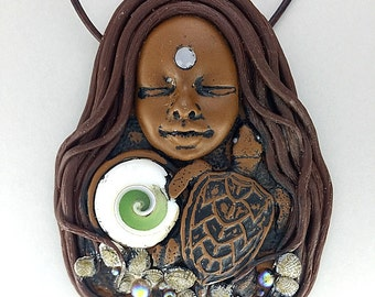 Turtle Necklace - Turtle Jewelry - Turtle Totem - Spirit Animal - Animal Totem - Animal Medicine - Clay Goddess - Goddess Necklace