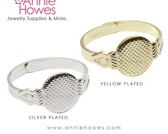 Silver or Yellow Plated Adjustable Ring Blanks with Glue Pad. 5 Ring Backs or Finger Ring Blanks.