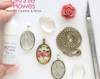 DIY Wedding 18x25 Oval Glass Pendant Kit with Pendant Trays, Glamour Seal, and matching Ball Chains. 18x25mm Makes 5