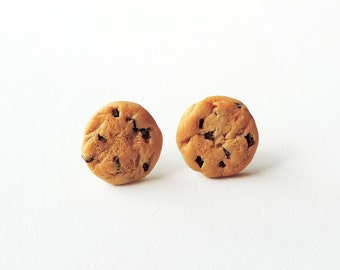 Realistic Chocolate Chip Cookie Earrings Polymer Clay Jewelry