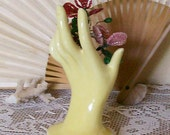 Vintage Pottery Handvase Yellow Mini Size 4 1/2 Inches Cottage Shabby Handvase