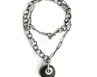 Lake Erie Beach Stone Tube Riveted Sterling Silver Asymmetrical Chain Necklace
