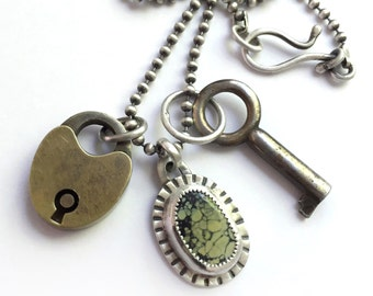 Vintage Key Padlock Charm Necklace Bezel Set Natural Tree Frog Chalcosiderite Pseudomorph Long Ball Chain Sterling Silver