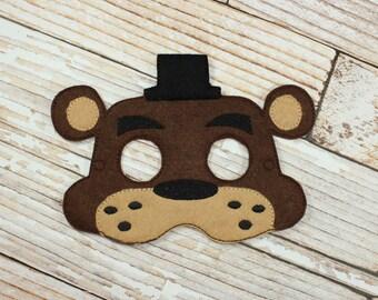 Freddy Mask - felt Five Nights at Freddy's mask for Birthday Parties, Halloween, Dress-up, Freddy Halloween Mask, Freddy Halloween Costume