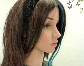 Black ruffled headband, black womens headband, black elastic hairpiece