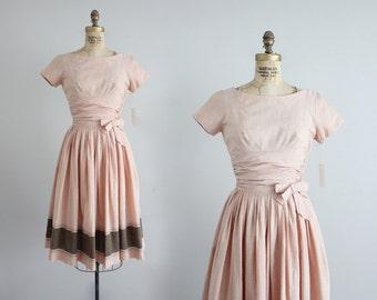 pink cotton dress   vintage 1950's dress