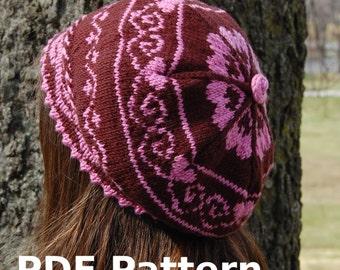 Berry Sweet Beret - Knitting Pattern PDF