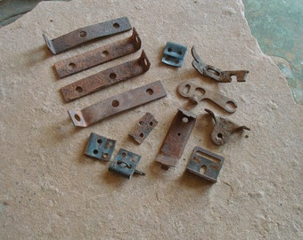 Rusty Textured Metal Pieces with Holes Brackets Found Objects for Assemblage, Altered Art or Sculpture - Industrial Salvage