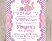 PRINTABLE Kitten Birthday Party Invitation / Pink and Lavender Kitty Cat Invitation / You Print