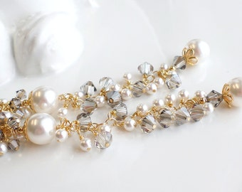 Long White Pearl Earrings, White Gray Crystal Pearl 4 Inch Long Earrings, Long Gold Earrings Long Wedding White Crystal Pearl Earrings
