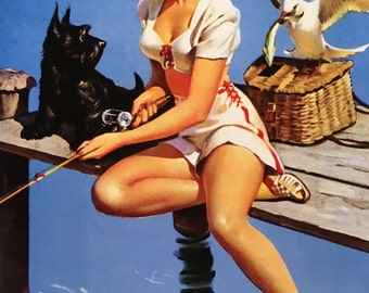 ELVGREN - CATCH ON  - Fishing Pinup with Scotty Dog, sun suit, vintage, deco, WwII, midcentury modern Pin-Up 12x18 giclee limited edition