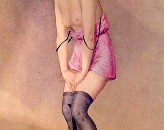 THE Kitty CAT by REBOUR Uncirculated 20's Litho French Art Deco Flapper Pinup slip sheer seamed stockings Vintage 90+years condition Pin-Up
