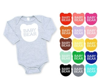Baby Bear Cotton Long Sleeve One Piece Romper in Heather Grey - Baby Shower Gift, New Baby, Expecting, Mom to Be