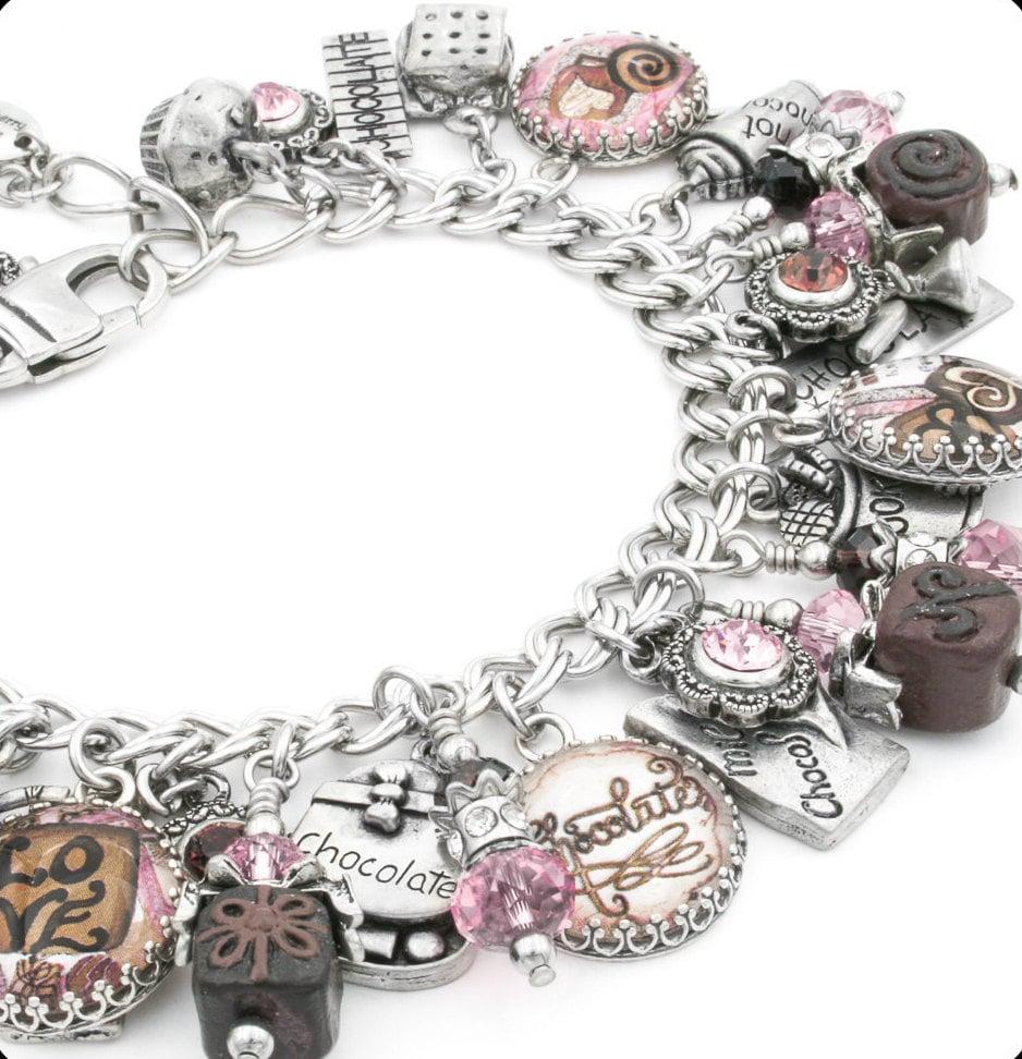 Chocolate Bracelet Silver Charm Bracelet By BlackberryDesigns