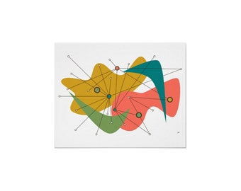 Amoeba Art Print Mid Century Inspired Abstract in Various Sizes & Papers with Free Shipping