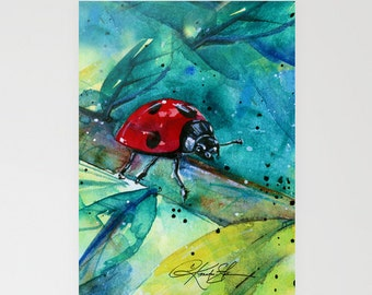 Ladybug - Beautiful Blank Butterflyl Greeting Cards from Original art by Kathy Morton Stanion EBSQ