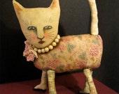 Fancy Cat art doll,  sandy mastroni , pearls , lipstick cat , wall art doll ,shelf,fabric sculpture , weird funny odd art doll