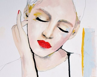 Essence - Fashion Illustration Art Print, Portrait, Mixed Media Painting by Leigh Viner