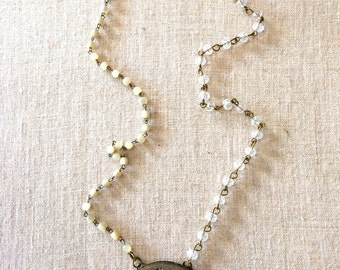 Vintage Mother of Pearl and Pocketwatch Necklace