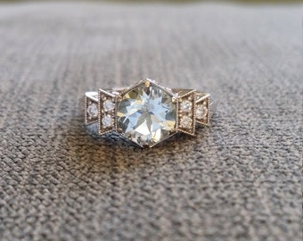 "Antique Diamond Aquamarine Engagement Ring White Gold 1920s Gemstone Rustic Bohemian PenelliBelle  Blue Aqua Exclusive ""The Florence"""